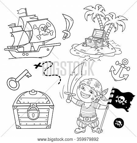 Cartoon Set For Pirate Party For Kids. Pirate Ship With Skull In Sea. Pirate With Black Flag.treasur