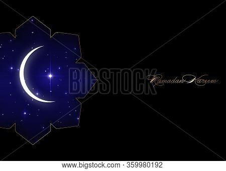 Ramadan Kareem Greeting Card With White Crescent Moon And Big Shiny Star. Black Luxury Poster Or Inv