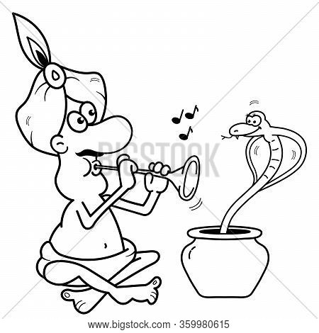 Coloring Page Outline Of Cartoon Fakir Or Snake Charmer With Serpent. Coloring Book For Kids.