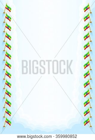 Vertical  Frame And Border With Ethiopia Flag, Template Elements For Your Certificate And Diploma. V