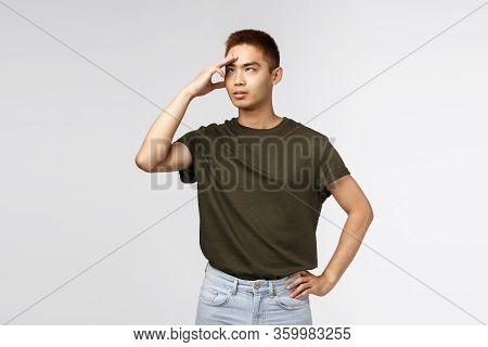 Portrait Of Annoyed Asian Man Roll Eyes Irritated, Facepalm, Cant Stand Hearing It Anymore, Complain