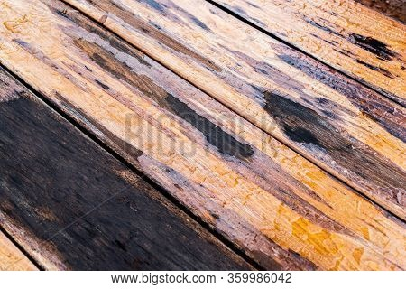 Wood Surface With Water Drops. Background With Raindrops.