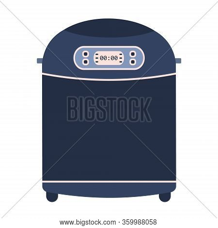 Flat Vector Home Bread Maker Machine Icon. Cute Blue And Pink Vector Kitchen Appliance, Automatic Ba