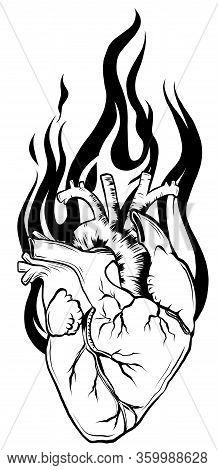 Human Heart Black Line, Tattoo. Vector Illustration.