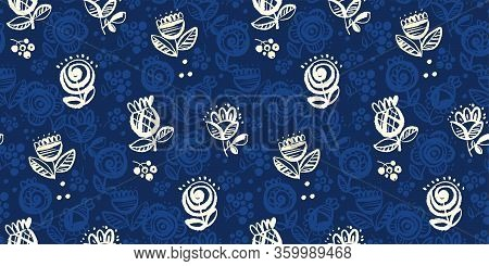 Elegant One-color Folk Style Seamless Pattern For Background, Wrap, Fabric, Textile, Wrap, Surface,