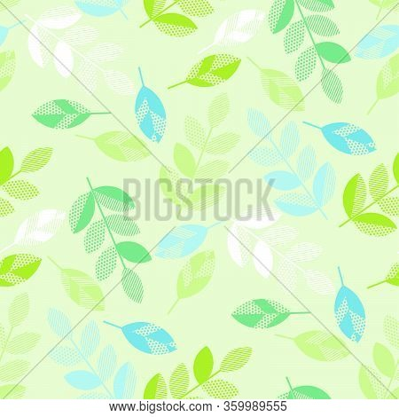 Pastel Mint Color Geometrical Foliage Seamless Pattern For Background, Wrap, Fabric, Textile, Wrap,