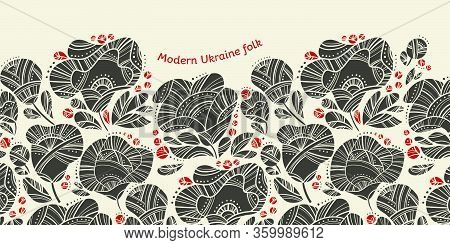Linocut Style Abstract Floral Horizontal Header With Ukraine Folk Vibes For Card, Header, Invitation
