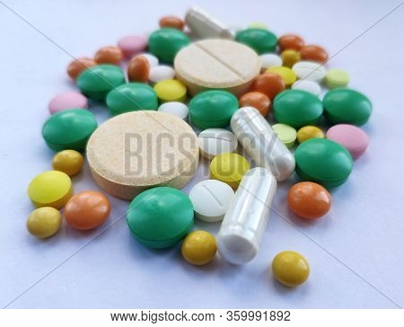 Colourful Pills Set, Medicine Background
