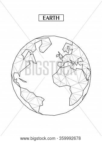 Polygonal Abstract Map Of Earth Or Globe With Connected Triangular Shapes Formed From Lines. Conitne
