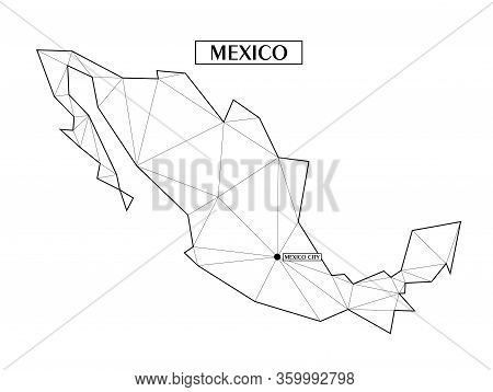 Polygonal Abstract Map Of Mexico With Connected Triangular Shapes Formed From Lines. Capital Of City