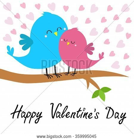 Two Birds Sitting On The Tree Branch. Bird Hugging. Happy Valentines Day. Pink Heart Set. Love Card.