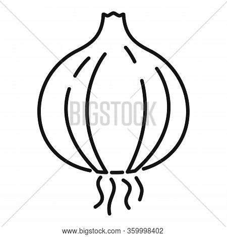 Farm Onion Icon. Outline Farm Onion Vector Icon For Web Design Isolated On White Background