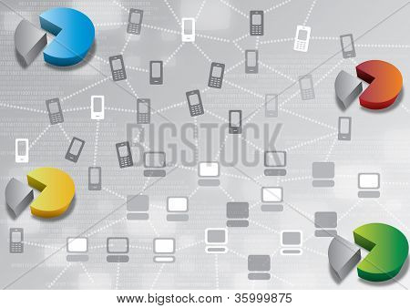 Blue Mobile and PC Data Analysis Illustration