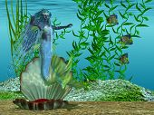 A beautiful blue mermaid arises for her shell bed in the morning under the sea. poster