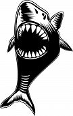 Big shark with mouth wide open showing sharp teeth poster