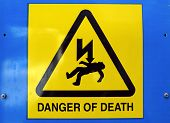 Signal of danger of death by electrocution following an electric shock poster