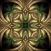 Ornate natural colored tile design - fractal abstract background poster