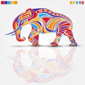 beautiful vector elephant with a colored ornament poster