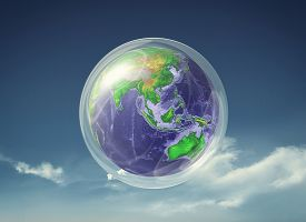 Earth Into A Bubble Protection Against The Virus . Pandemic On Planet Earth Concept . This Is A 3d R