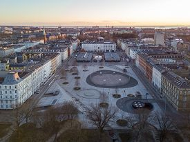 Copenhagen, Denmark - March 31, 2020: Aerial Drone View Israels Plads And The Market Halls.