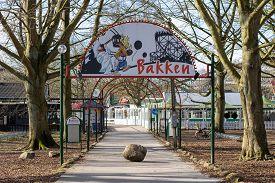 Copenhagen, Denmark - March 19, 2020: Entrance To Bakken, The Oldest Amusement Park In The World.