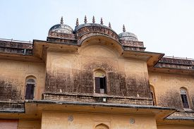 Jaipur, India - December 12, 2019: Facade Of The Historic Nahargarh Fort.