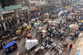 Old Delhi, India - December 4, 2019: A Busy Street At The Market Khari Baoli In Old Delhi.