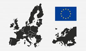 European Union, Eu Flag And Europe Map Isolated On A White Background. Europe Background. Map Of Eur