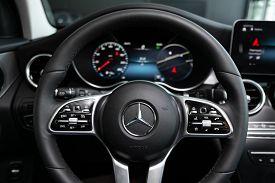 Novosibirsk, Russia - March 07, 2020 Mercedes-benz Glc-class,auto Interior: Steering Wheel With Logo
