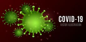 Abstract Virus. 3d Corona Green Microbe. Medical Concept. Pathogen Organism. Vector Illustration. Ep