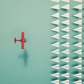 Group Of Paper Air Planes . Team Recruiting . Red Old Plane Leader . This Is A 3d Render Illustratio