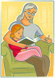 An elderly woman reading a book with a young girl