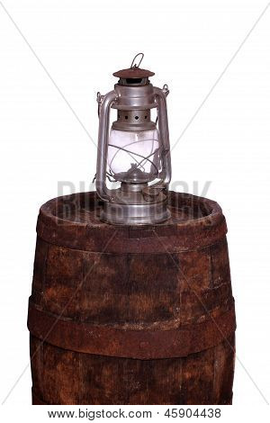 Wooden Barrel With Oil Lamp