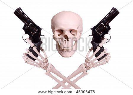 Skull With Two Skeleton Hands Holding Guns