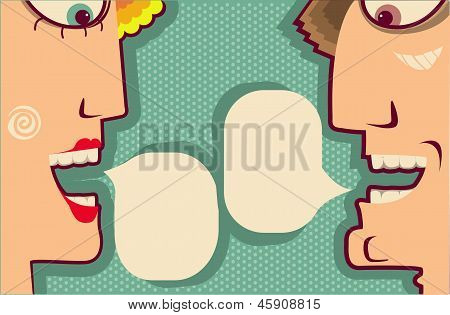 Faces Speaking And Bubbles For Text.vector Cartoons For Design