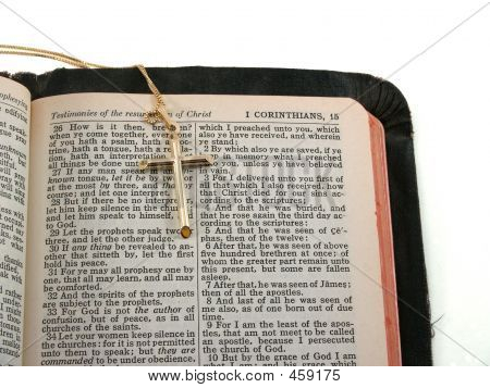Gold Cross On Bible