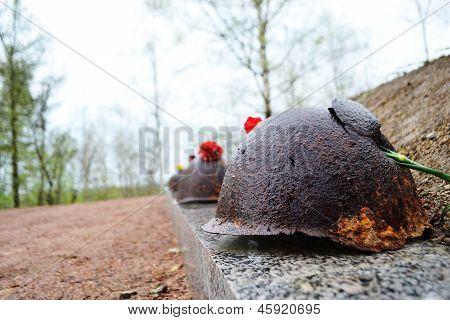 Old Steel Helmet On War Memorial