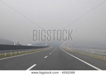 Expressway In Mist
