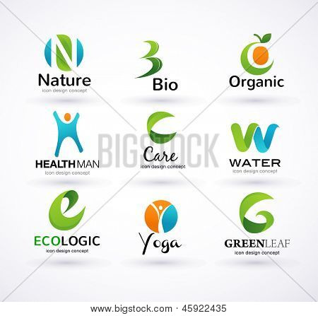 Vector green ecology alphabet - icons and symbols poster
