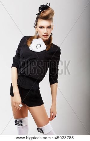 Individuality. Charismatic Fashion Model In Trendy Clothes. Haute Couture
