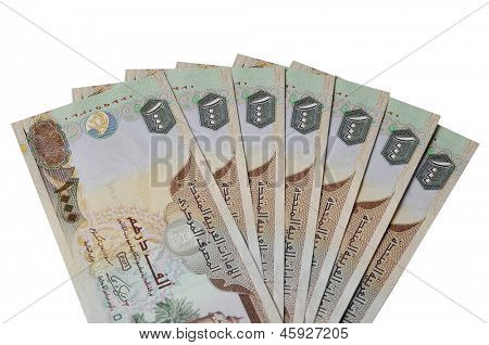Many One Thousand UAE Dirhams currency notes