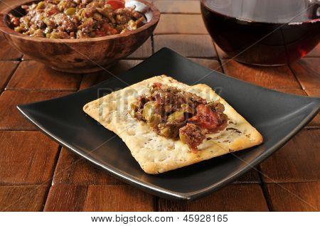 Olive Bruschetta On Crackers