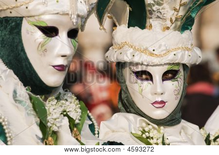 Beautiful golden mask of Venice carnival 2009 poster
