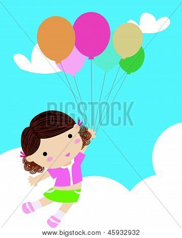 A little girl and balloon