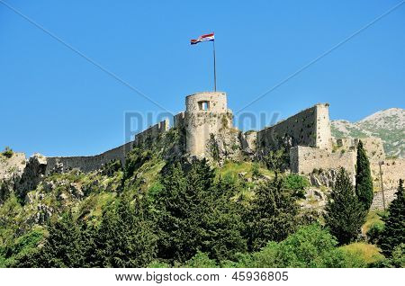 klis fortress at kozjak hill in dalmatia, croatia poster