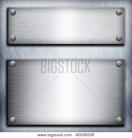 Brushed steel plate over aluminium metall background for your design poster