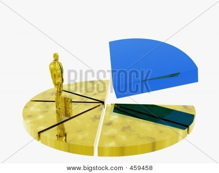 Businessman On Graphic Pie.