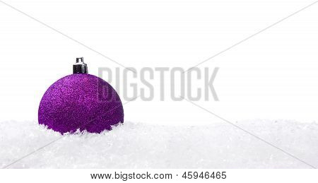 Christmas Ball With Snow Isolated On White Background