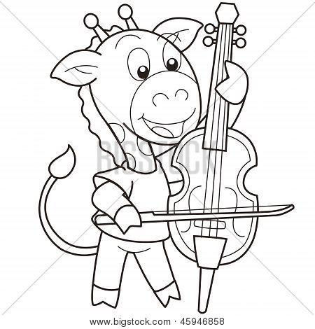 Cartoon Giraffe Playing A Cello