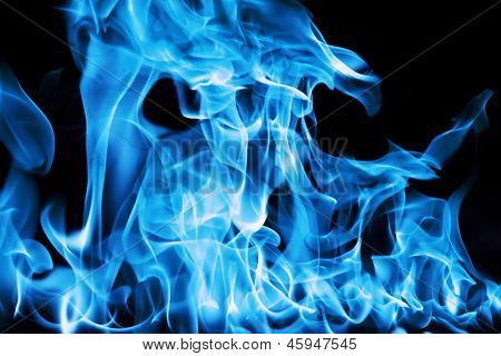 Blue Fire On A Black Background